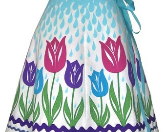 april showers skirt - cool - raindrops and cute tulips hand screen print
