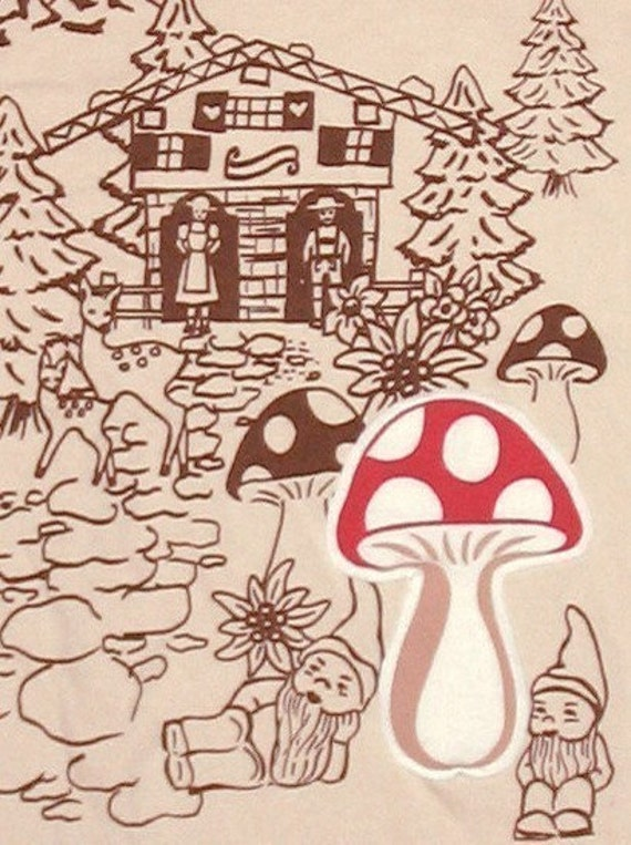schwarzwalder tee - cream - cute gnomes & deer frolic in the forest among the toadstools