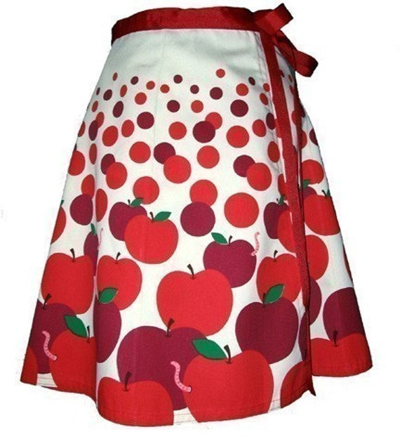 apple pickin' skirt - red delicious - cute hand screen printed playful polkadot wrap-around