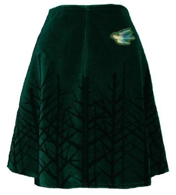 winter woods skirt - pine green - bare trees hand screen printed velveteen with blue bird brooch