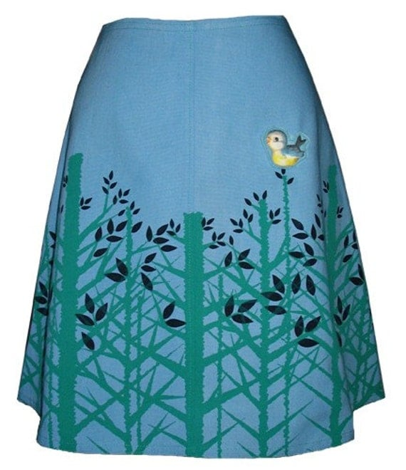 treetop skirt - sky blue - spring forest hand screen print with cute bluebird brooch