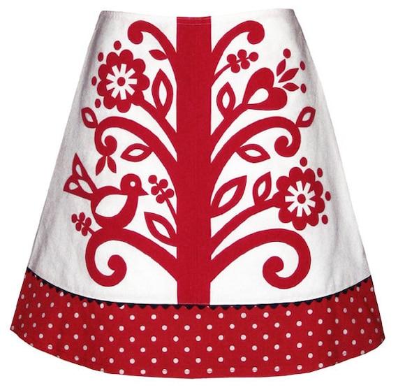 beanstalk skirt - red - folk flower vine print with polka dot hem