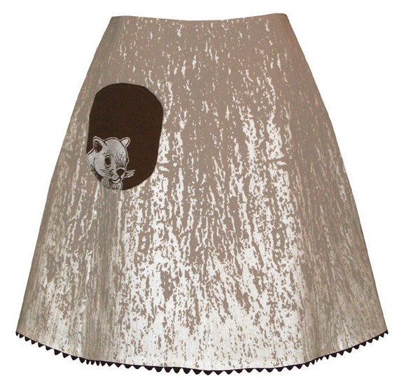 knothole skirt - snowfall white - tree bark print with cute lil squirrel pocket
