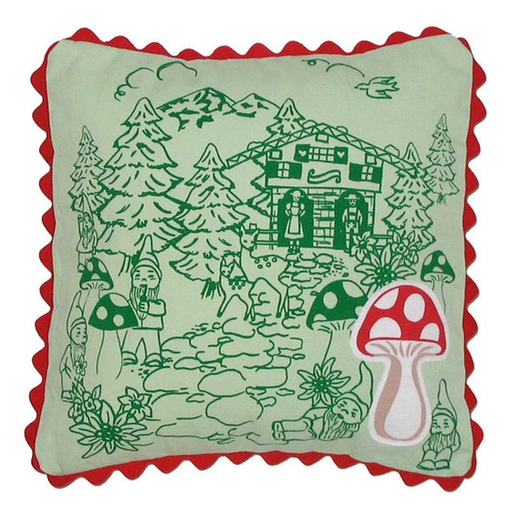 Cute Gnome Forest Fun Schwarzwalder Print Pillow Cover with Mushroom Patch