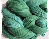 Hand dyed Green  Yarn - Sport Weight - Alpaca Merino Bamboo Nylon - Sock Yarn - 400 yards