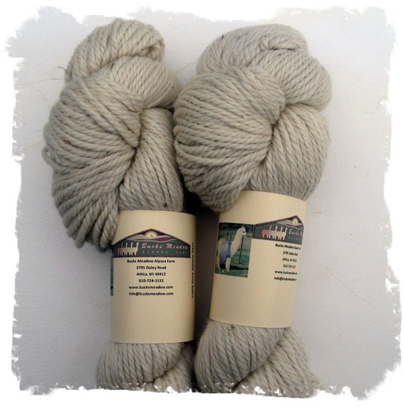 Alpaca Yarn - Farm Grown - Beige and Very Bulky for Knitting Crochet or Felting - 200 yards - 3 ply