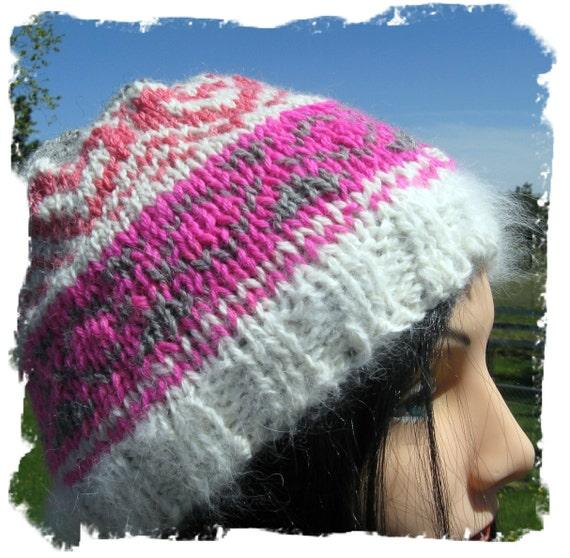 Women s Hat Hand Knit with Alpaca and Angora Bunny Yarn - Medium