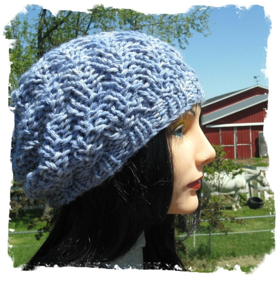 Slouch Hat HandKnit with Hand Dyed Baby Alpaca Yarn - Reserved for Jessica