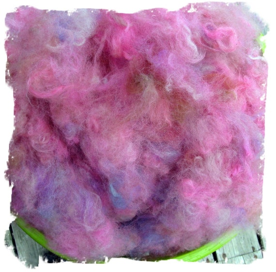 Alpaca Fleece - Washed Dyed and Picked - Pink and Blue - Patriot - 4 ounces