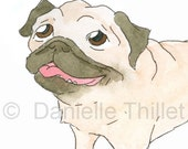 PUG - Original Watercolor Illustration