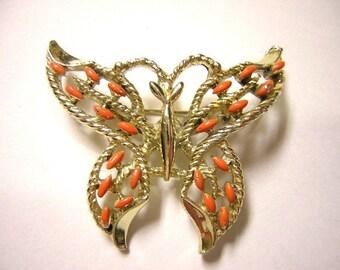 Gerrys Goldtone Orange Enamel Butterfly Brooch - Vintage -  No. 8