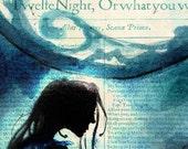 Twelfth Night Viola Moonlight evening - Shakespeare Folio illustration art print