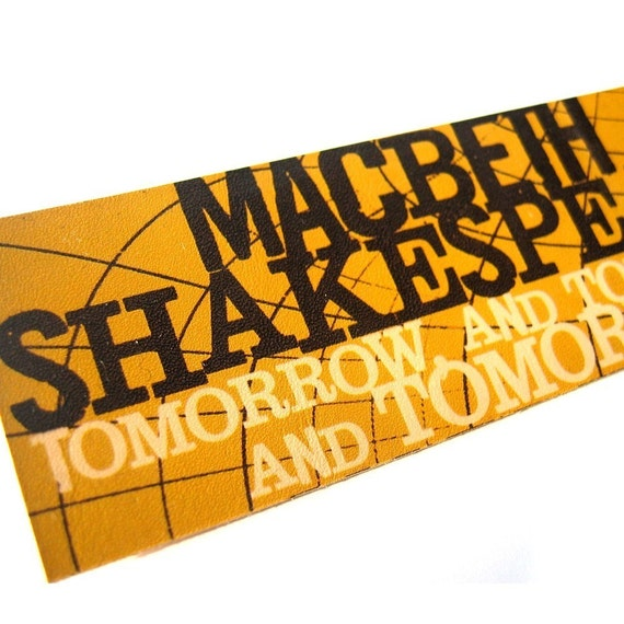 Macbeth Tomorrow Leather Bookmark - yellow gold geometric Shakespeare Quote