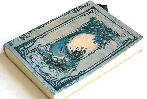 SALE! Imperfect Midsummer Nights Dream Leather Journal - Special light blue version
