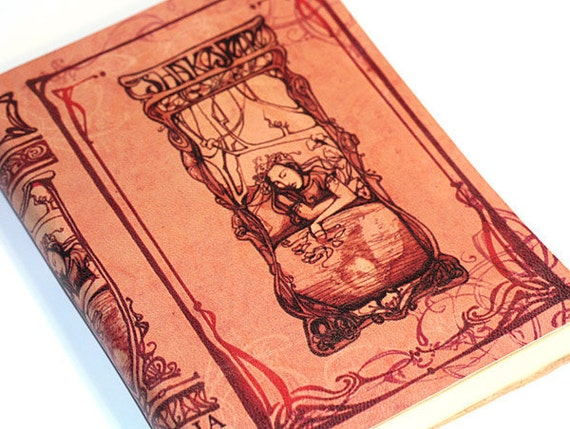 Ophelia Journal - pink leather blank Shakespeare book