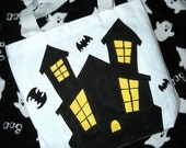 Hand Painted Haunted House Trick or Treat Tote Bag