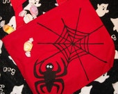 Hand Painted Spider Web Trick or Treat Tote Bag