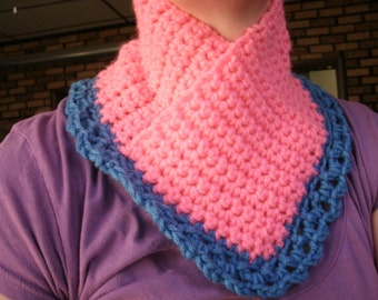 pink neckwarmer with blue trim    (slide over your head)