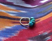Turquoise Chunk and Gold Wire Ring ...Reserved for pollymcdan