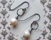 RESERVED shay earrings - textured white pearls gray pearls sterling silver hooks