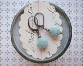 lani earring - carved blue amazonite flowers sterling silver hooks