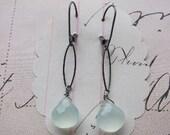 camille earrings - sterling silver aqua chalcedony