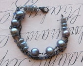 Olessa bracelet -gray freshwater pearls gemstone sterling silver iolite labradorite