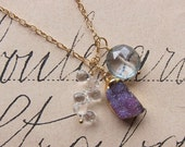 soondree necklace - one of a kind druzy stone mystic quartz clear quartz