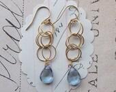 mallori earrings - blue mystic gemstone gold fill hooks