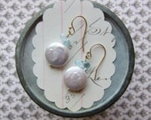 claire earrings - faceted aquamarine coin pearl 14k gold fill