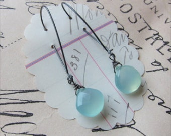 karel earrings - ocean blue chalcedony