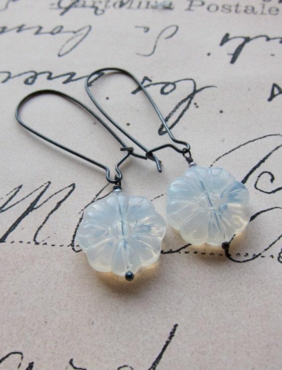 lani earring - white milk glass pressed flowers sterling silver hooks