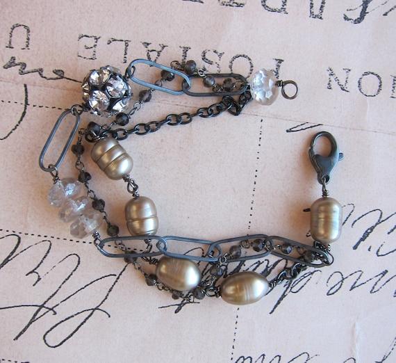 Olessa bracelet - champagne pearls gemstone sterling silver smokey quartz topaz