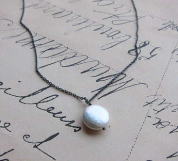 ellene necklace - white coin pearl antiqued sterling silver chain
