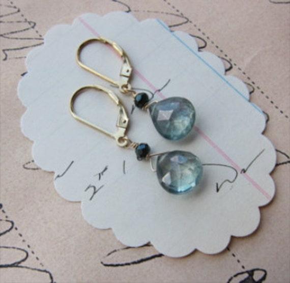 karel earrings - ocean blue topaz gemstone 14k gold filled