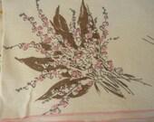 Vintage Pink Brown Linen Tablecloth
