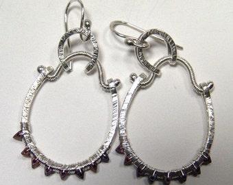 U Hoop Bead Earrings silver