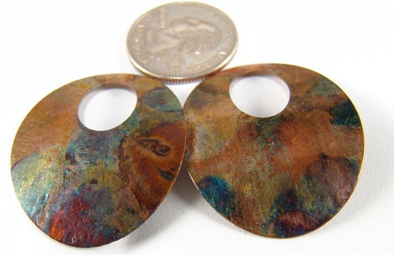 Fire Painted Copper Pattern Oval findings DIY