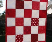 "SALE Red and White Checkered Mini Quilt or Placemat, doll quilt, 12.5 x 17.5""  was 28.00"