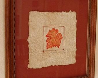 Grape Leaf - Framed Handmade Paper Print - Mixed Media