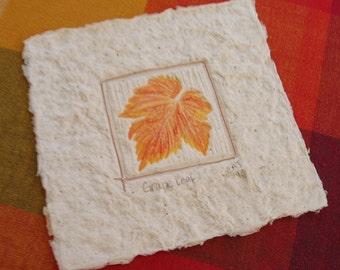 Grape Leaf Mixed Media Handmade Paper Print