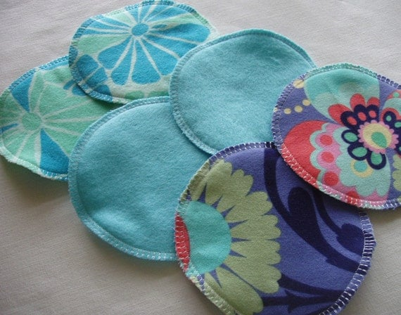 Soft Flannel Nursing Pads, 3 Pair in Shades of Aqua, Lavender, made with Cotton Flannel and Bamboo/Cotton Fleece, last set in these fabrics
