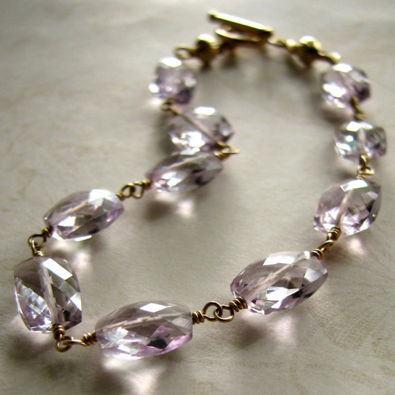 Charisse II - Pink Amethyst Cushion Cut Rectangle Toggle Bracelet in Goldfill