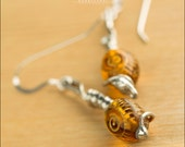 Amber Spiral Earrings with Sterling Silver - Jewelry by Jason Stroud