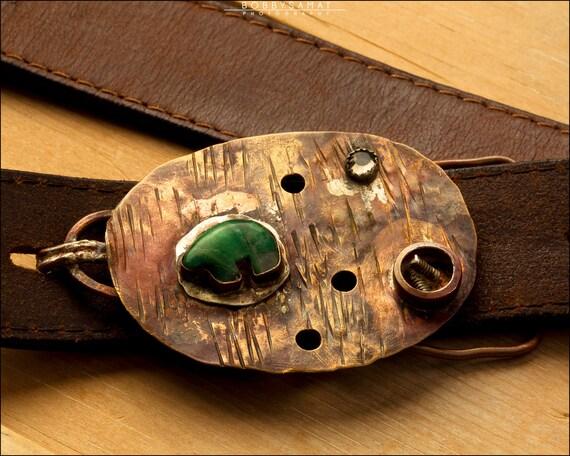 Sterling Silver Aventurine Bear Beaded Belt Buckle - Jewelry by Jason Stroud