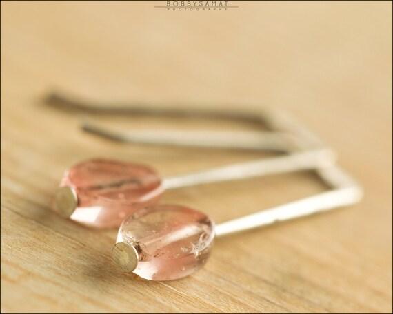 Sterling Silver Pink Watermelon Quartz Earrings - Jewelry by Jason Stroud