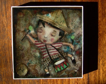 He Marches To The Tune Of His Own Drum, print mounted on wood block