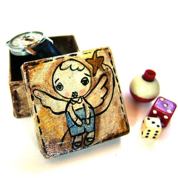 Angel Boy, jewelry box, original hand-painted