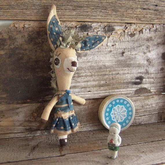 Bessy, whimsical donkey, primitive, folk art doll