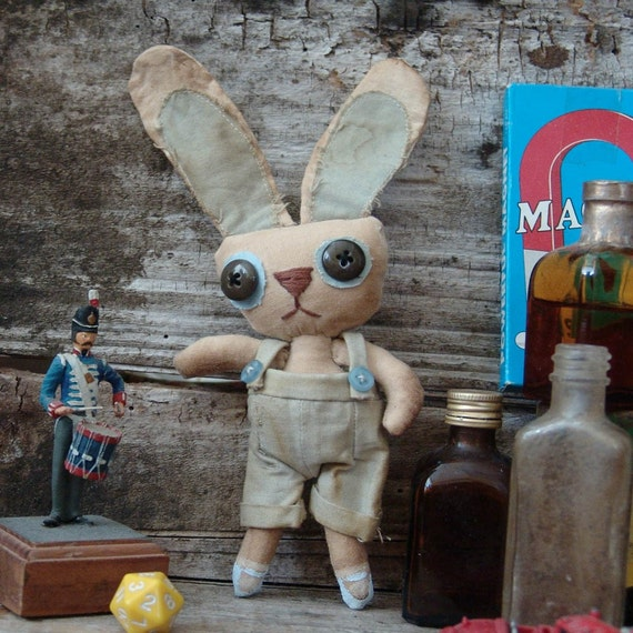 Reserved for JL, Rodney Bunny, primitive, cloth doll, collectible